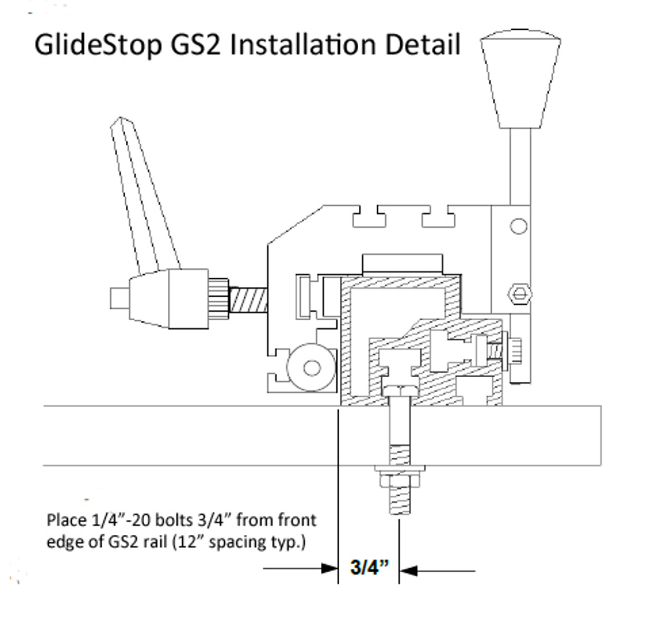 GlideStop Fence Rail for Infeed Side, 4ft. long, w. tape scale