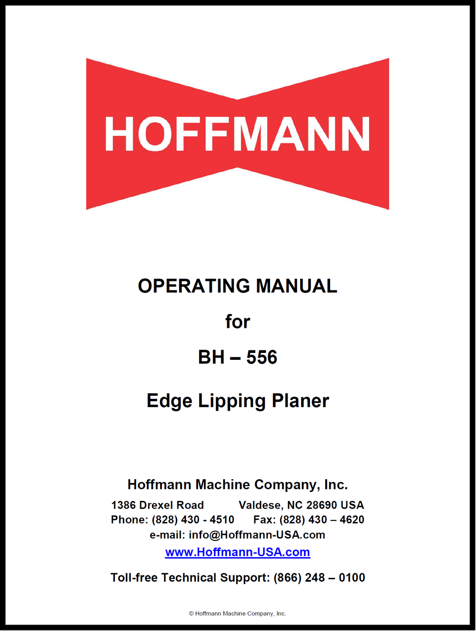 Hoffmann BH-556 Lipping Planer Manual