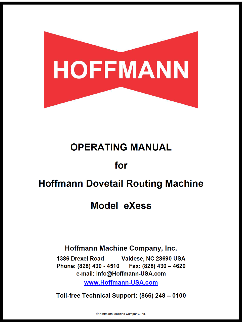 Operating Manual for Hoffmann eXess Handheld Dovetail Router