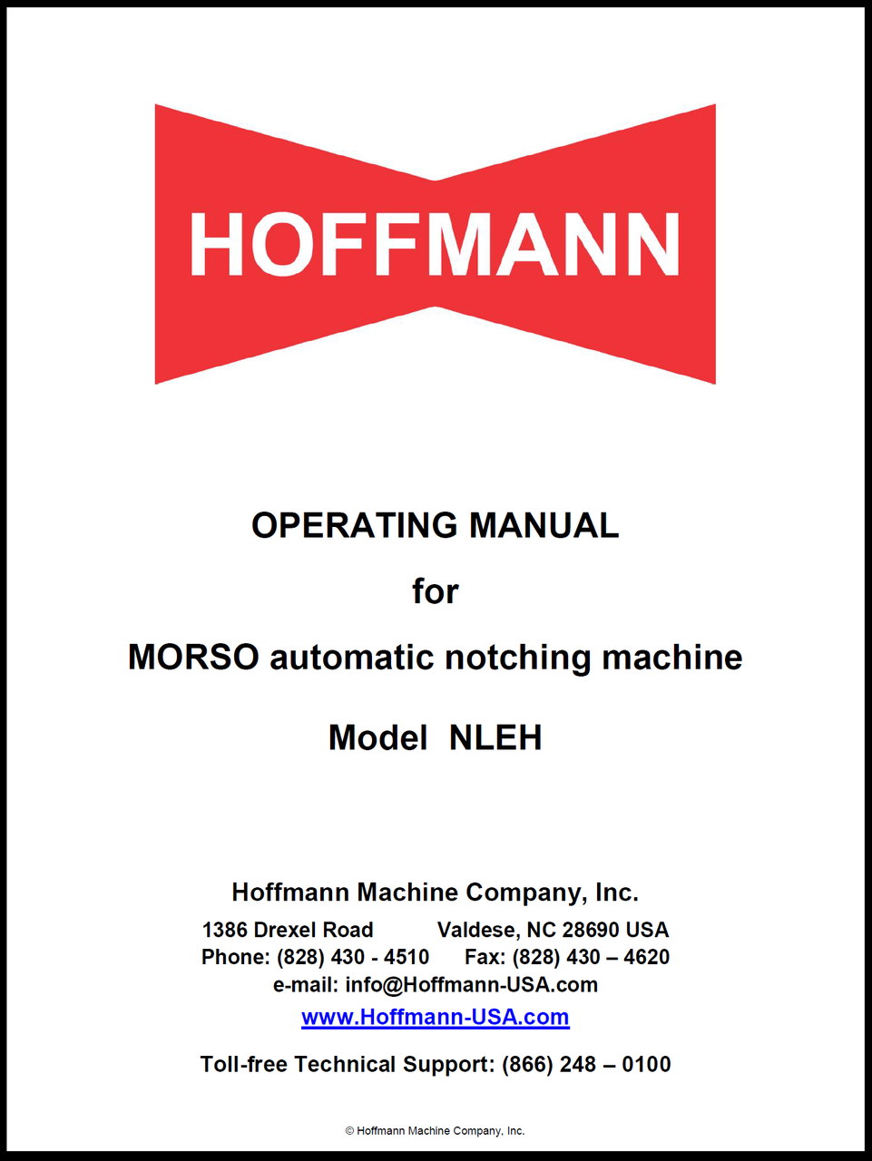 Operating Manual for Morso NLEH