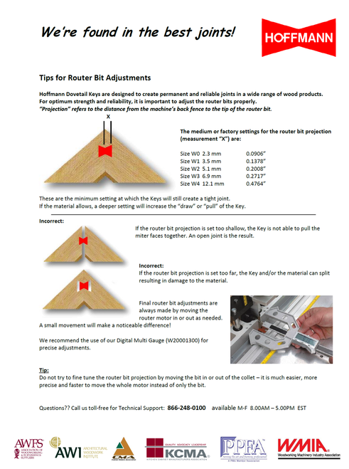 Hoffmann Tips for Router Bit Adjustments
