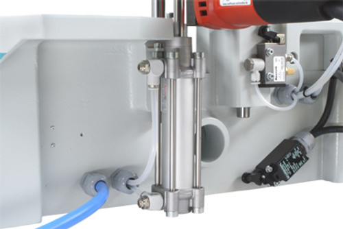 Image shows smaller HP0821200193 Pneumatic Flow Control Valve - 1/8  -- installed on top and bottom port of  main cylinder on MU2-P bench-top routing machine
