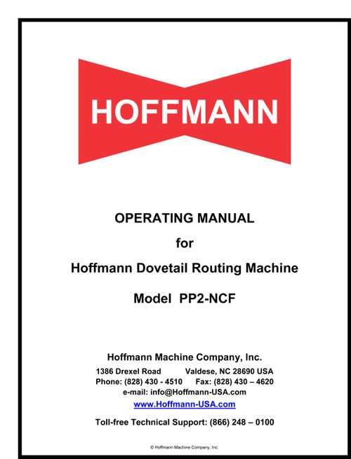 Hoffmann PP2-NCF Operating Manual
