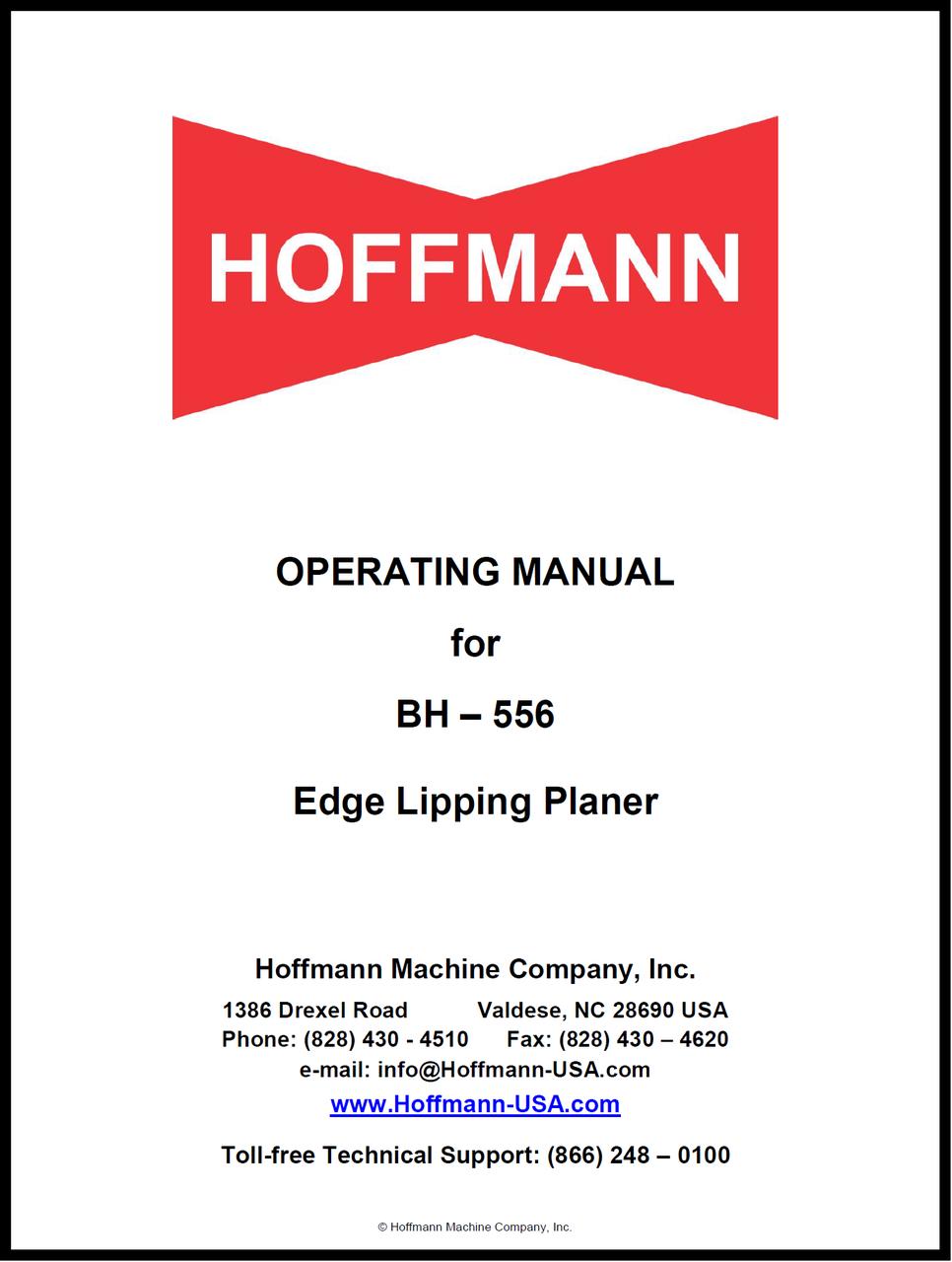 Hoffmann BH-556 Edge Lipping Planer Operating Manual