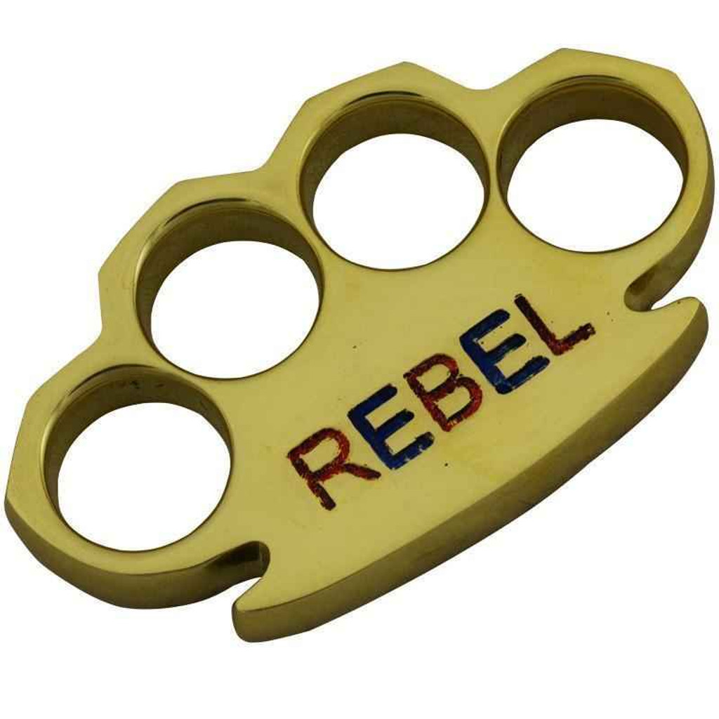 Knockout Knucks Heavy Duty REBEL Brass Knuckles Engraved Color