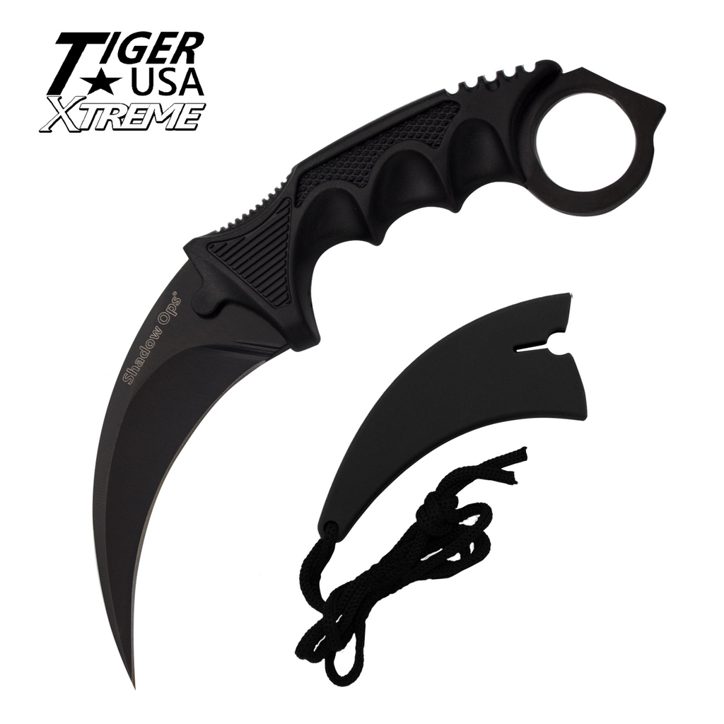 Knockout Knucks Karambit Ranger-Black Fixed Blade Neck Knife with Sheath 1