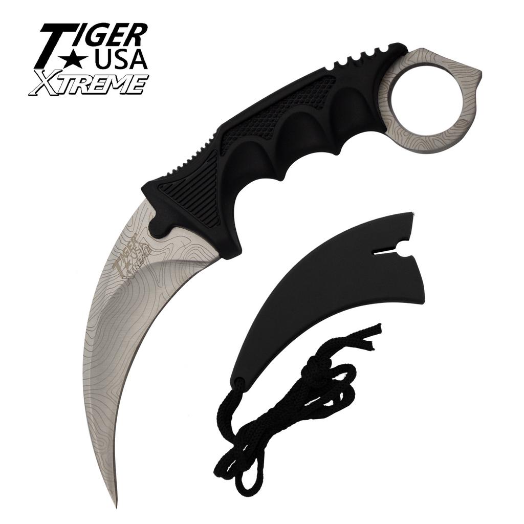 Knockout Knucks Karambit Ranger- Silver Damascus Fixed Blade Neck Knife with Sheath