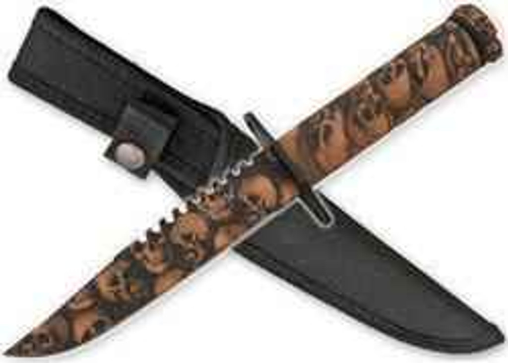 vendor-unknown Zombie Survival Knife W/ Skull Heads - Brown
