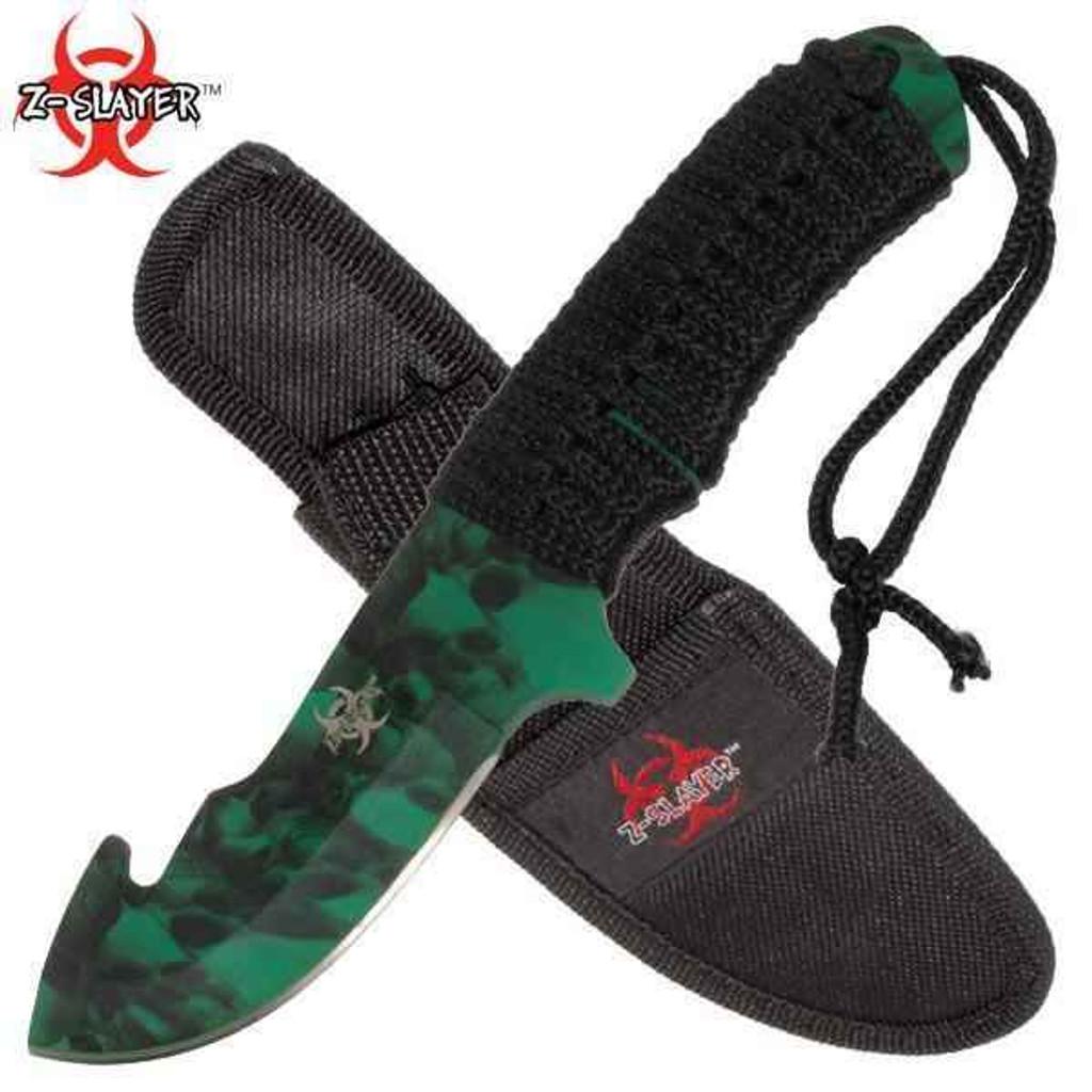 Knockout Knucks Full Tang ZOMBIE Slayer Gut Hook Knife