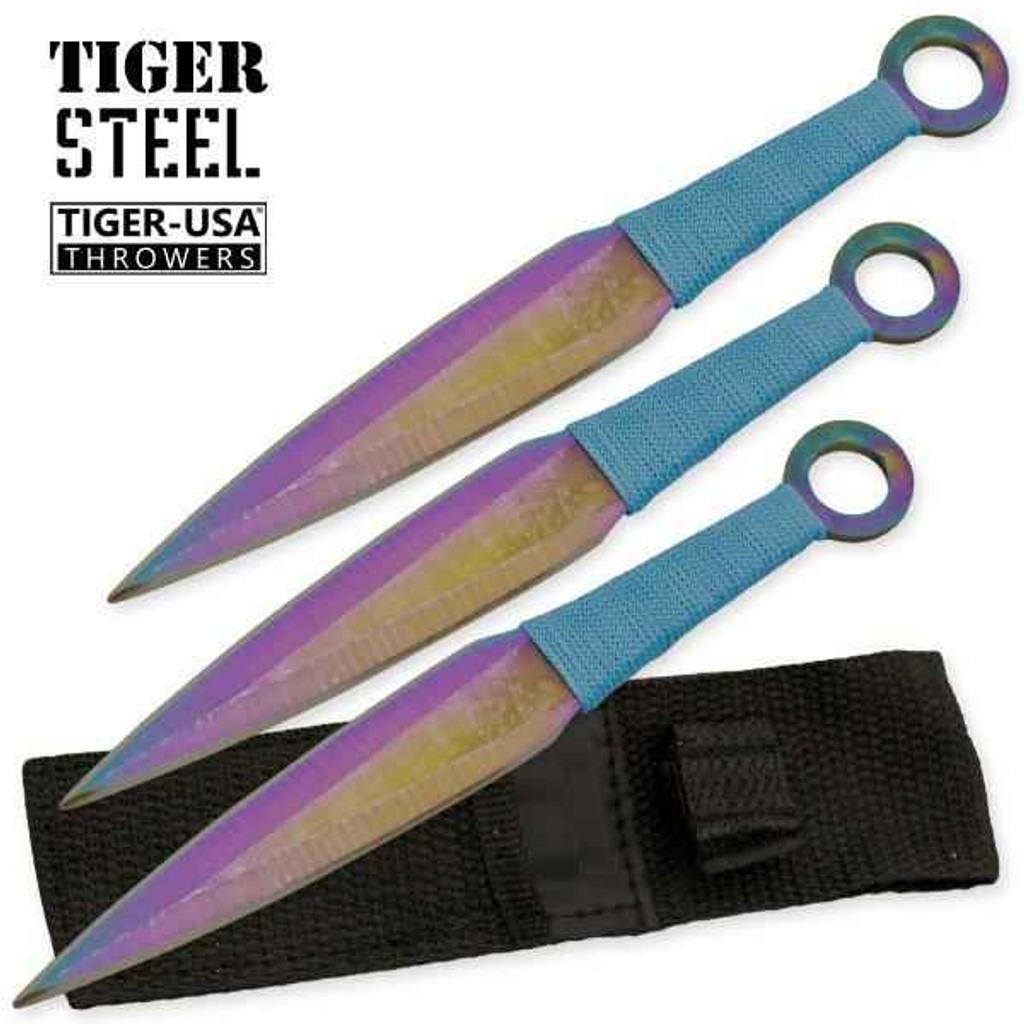 Knockout Knucks 3 PC Titanium Throwing Knife Set with Blue Cord