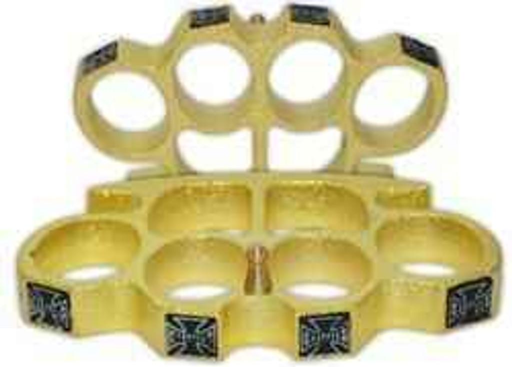 Knockout Knucks Gold Chopper Brass Knuckles