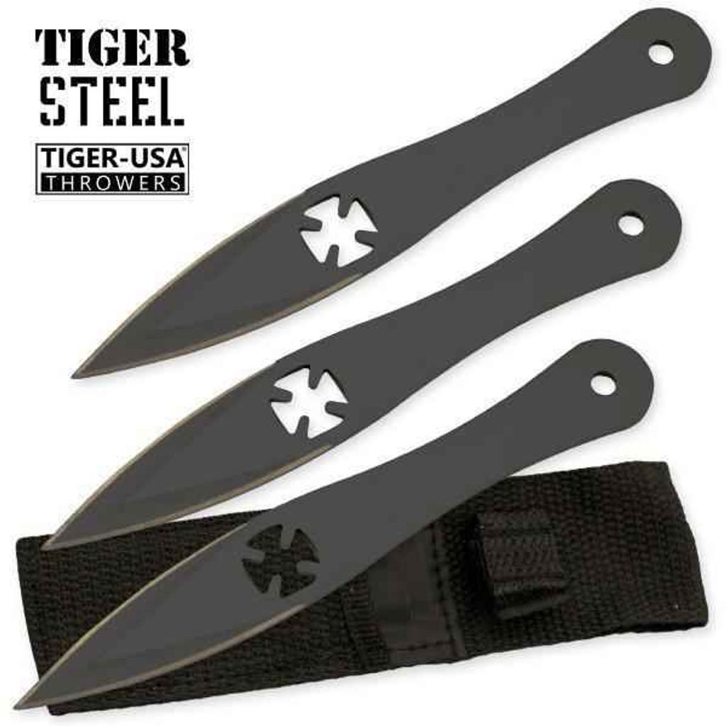 Knockout Knucks 3 PC Tiger Steel Black Throwing Knife Set 1
