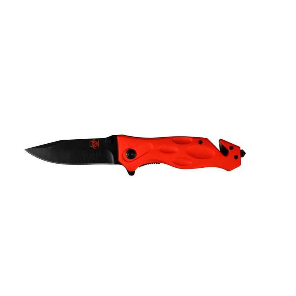 Factory X Knives Biohazard Pocket Folding Clip Point blade/seatbelt cutter Red
