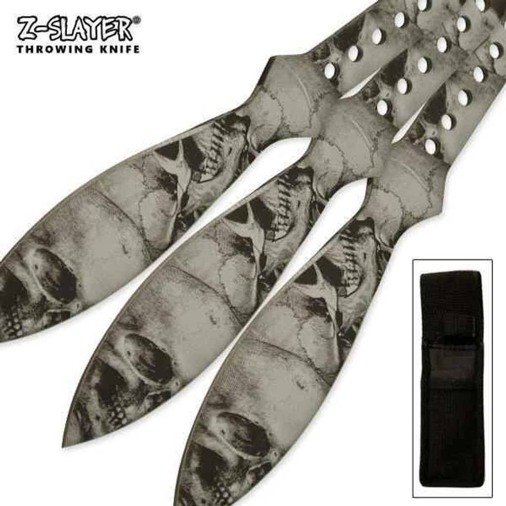 Knockout Knucks Silver Throwing Knife 3 PC Kit With Protective Case