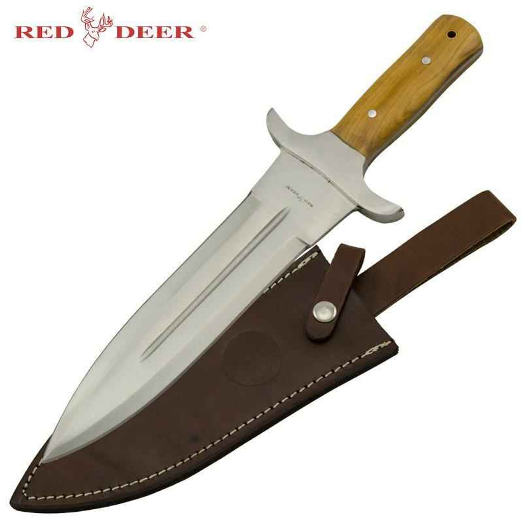 Knockout Knucks Red Deer Hunting Dagger with Real Leather Sheath