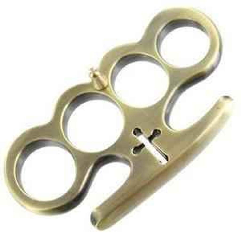 Knockout Knucks Cardinal Revenge Brass Knuckles - Antique Brass