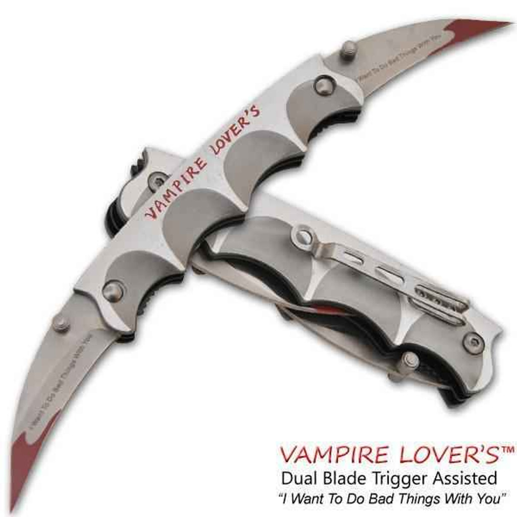 Knockout Knucks Vampire Lovers Trigger Action Dual Knife-Silver