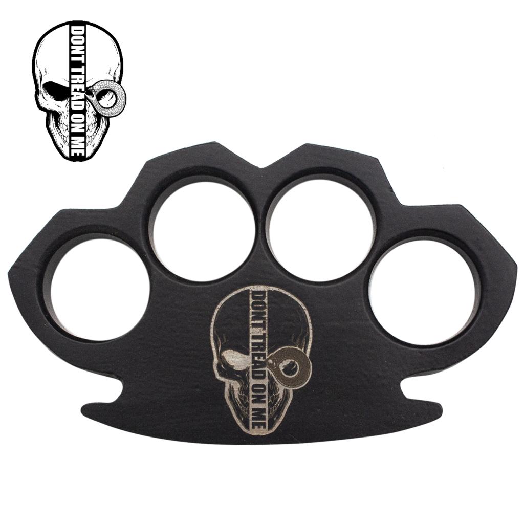 Knockout Knucks Dont Tread on Me Steam Punk Black Solid Steel Knuckles