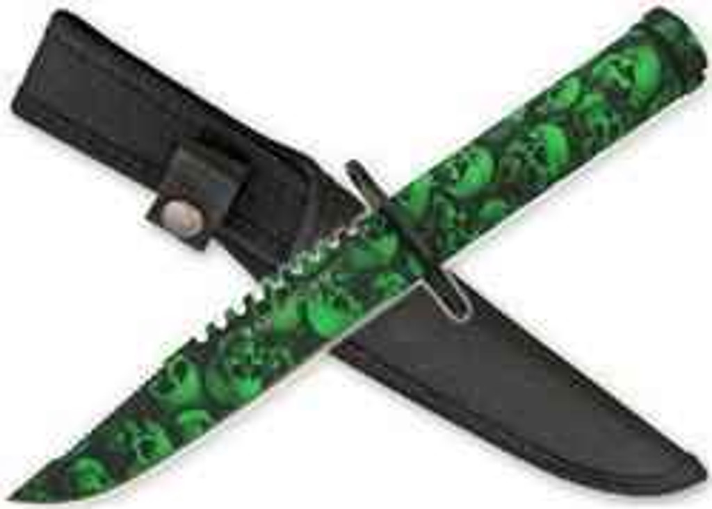 vendor-unknown Zombie Survival Knife W/ Skull Heads - Green