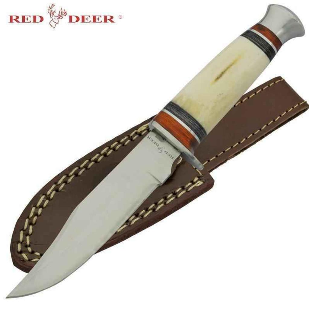 Knockout Knucks Red Deer Hunting Knife Real Animal Bone