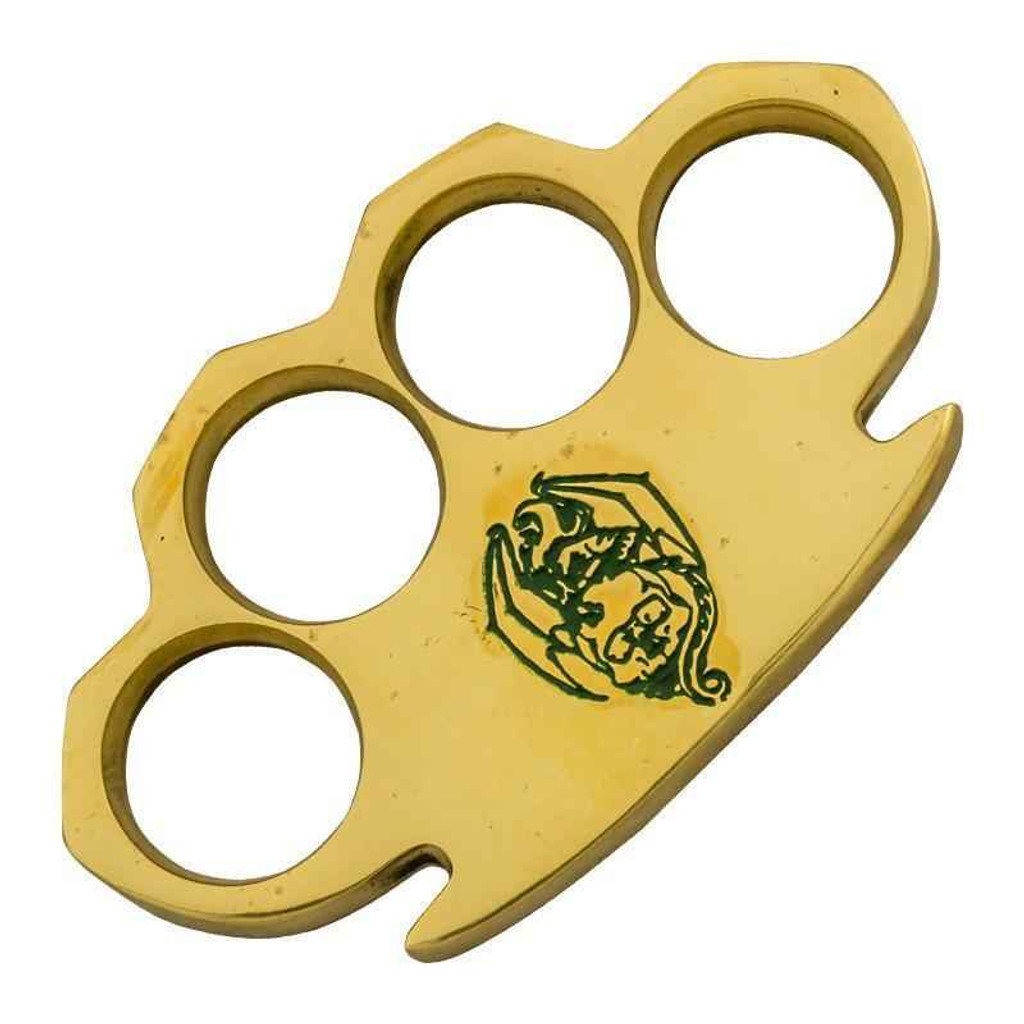 Knockout Knucks Bat Green Heavy Duty Real Brass Knuckles