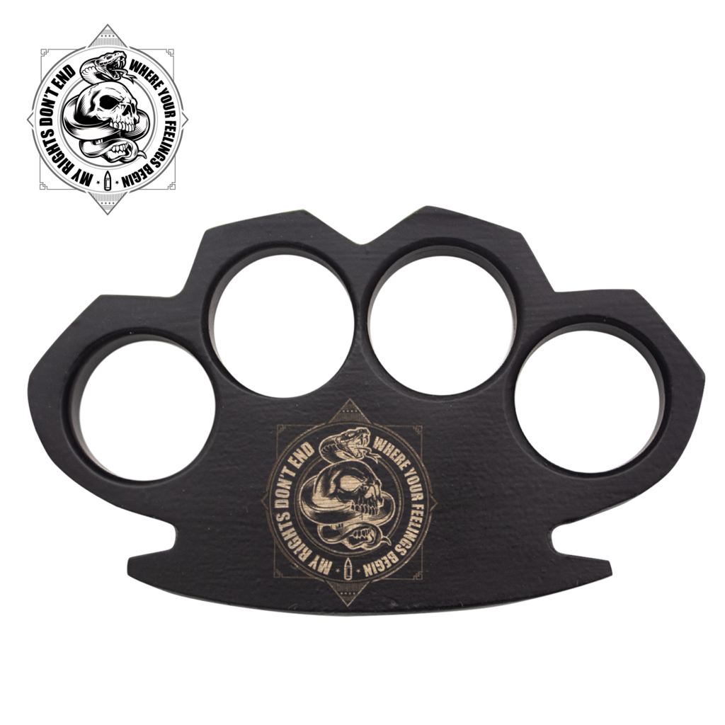 My Rights, Your Feelings Steam Punk Black Solid Steel Knuckles