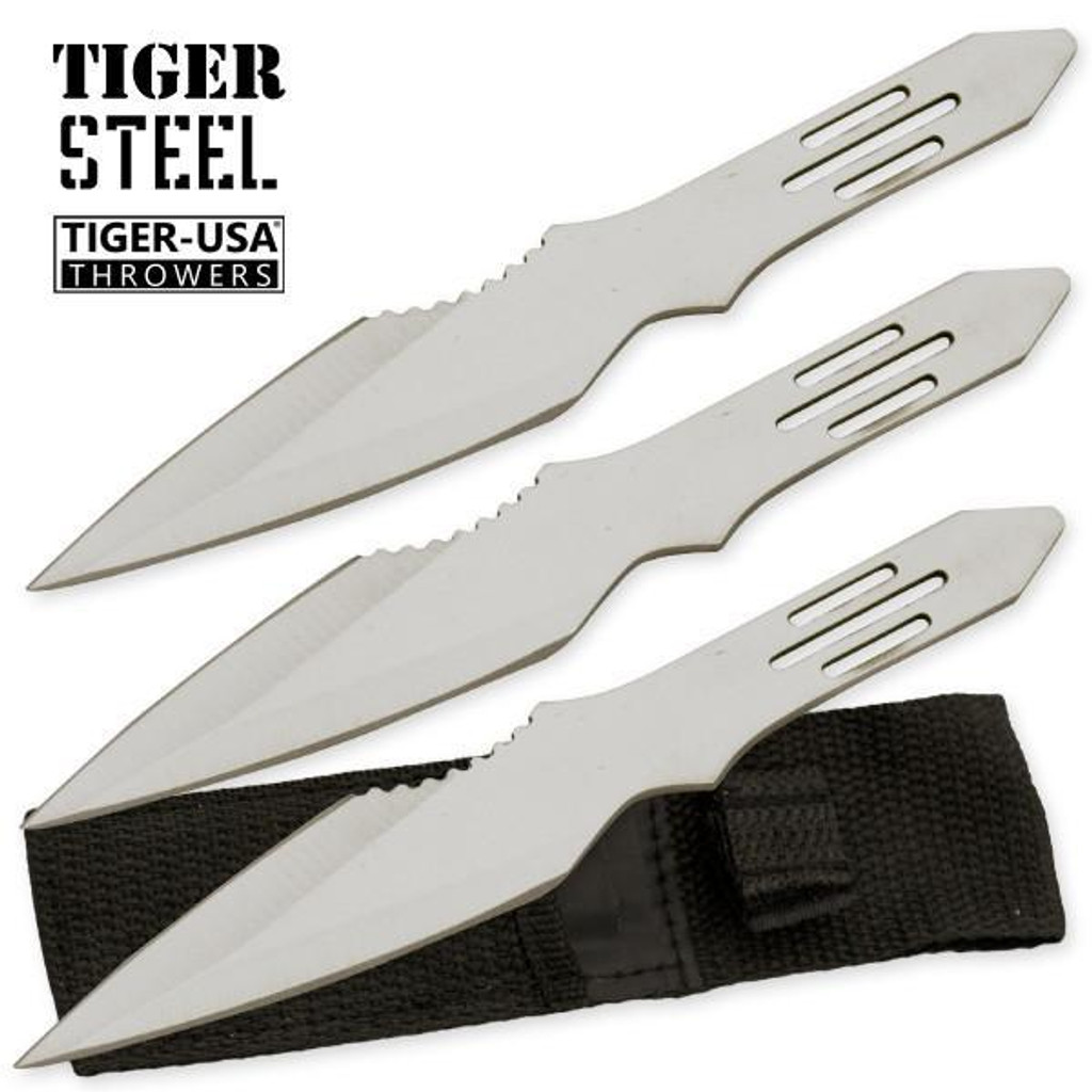 3 PC Silver Throwing Knife with Protective Case