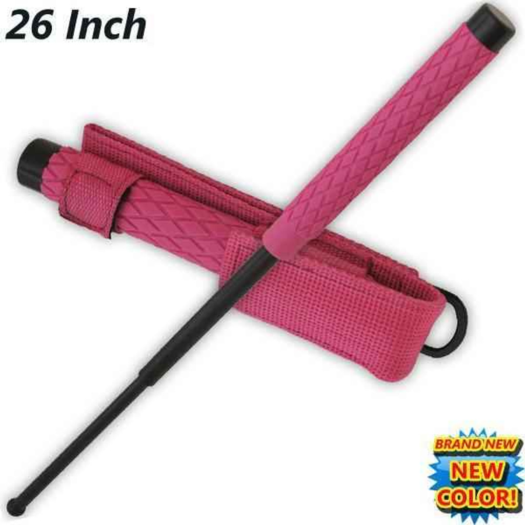 Knockout Knucks 26 Inch Baton Public Safety Solid Steel Police Stick W/Case Pink