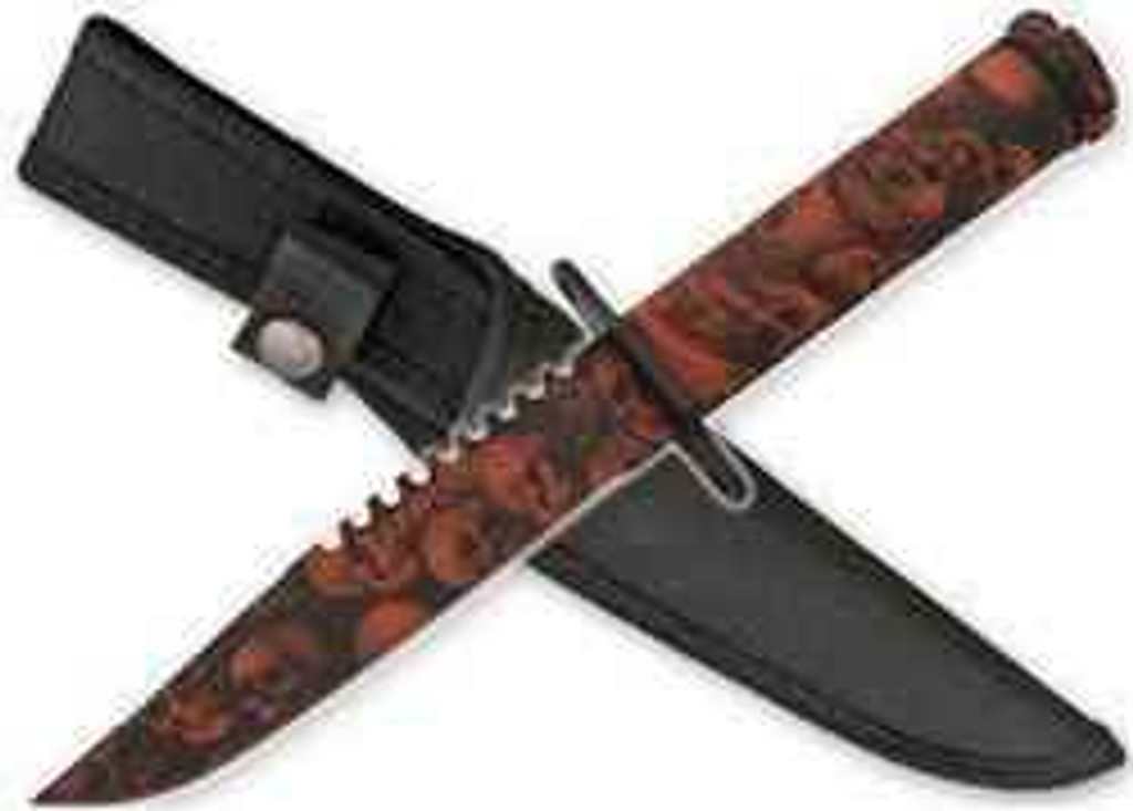 vendor-unknown Zombie Survival Knife W/ Skull Heads - Orange