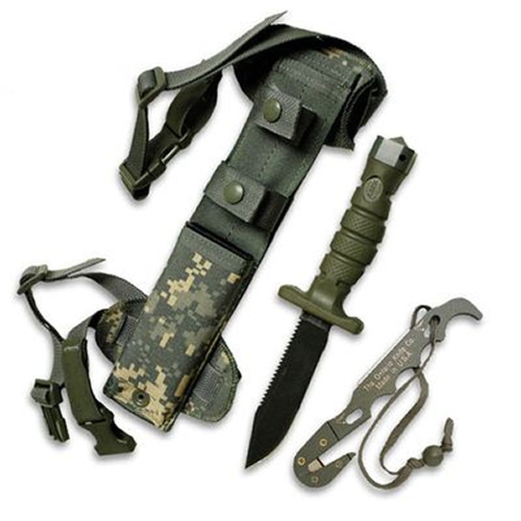 """<p><font size=""""3"""">The Ontario ASEK Survival Knife System includes a clip point survival knife, an aluminum strap cutter tool, and a tactical sheath.</font></p> <p><font size=""""3"""">Specifications</font></p> <p><font size=""""3"""">5&quot; partially serrated clip point blade of 1095 carbon steel<br /> Rockwell hardness of 50-54 and zinc phosphate finsih to inhibit rust<br /> Rubberized, over-molded handle for secure grip<br /> Strap cutter multi-tool with cutter, screwdriver and lanyard<br /> Multi-functional ASEK tactical sheath with Kydex inert</font></p>"""
