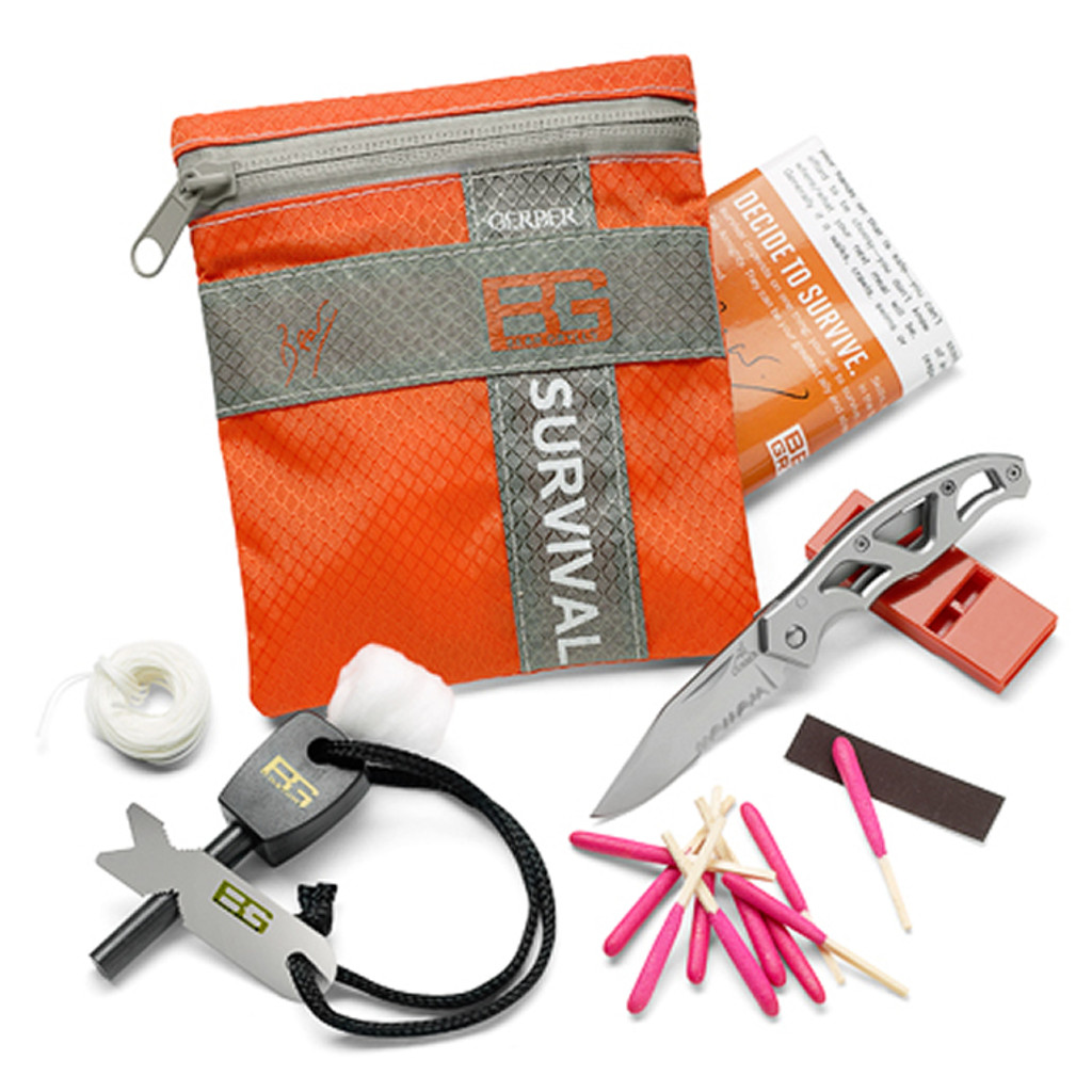 """<p><font size=""""3"""">Lifesaving in an emergency. The Basic Kit&rsquo;s mantra is: Stay prepared. Stay alive.</font></p> <p><font size=""""3"""">8 Piece Kit <br /> Waterproof Bag <br /> Gerber&reg; Mini-Paraframe&trade; Knife <br /> Emergency Whistle <br /> Fire Starter <br /> Waterproof Matches <br /> Snare Wire <br /> Emergency Cord <br /> Cotton Ball - Fire Tinder <br /> Lightweight, ripstop nylon bag with waterproof zipper <br /> Land to air rescue instructions <br /> Priorities of Survival - Pocket guide contains Bear&rsquo;s survival essentials </font></p> <p><font size=""""3"""">Sheath Dimensions: 4.5&rsquo;&rsquo; x 5.0&rsquo;&rsquo; <br /> Overall Weight: 4.2 </font></p>"""