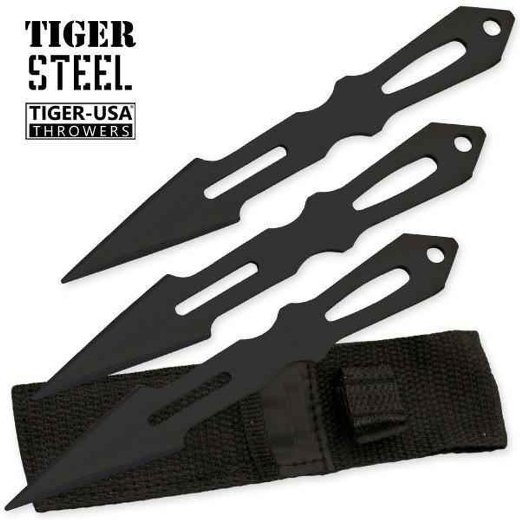 Knockout Knucks 3 PC Tiger Steel Black Throwing Knife Set
