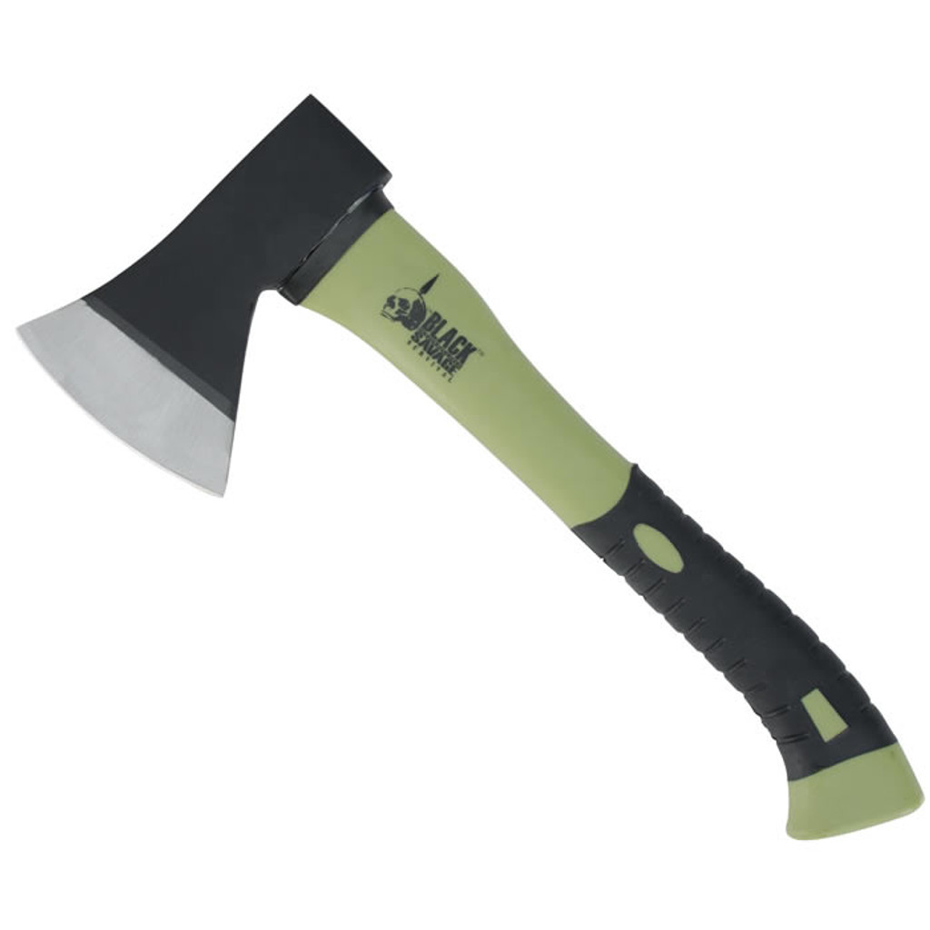 "<p><font size=""3"">This Black Savage hatchet is a rugged tool that can be used for just about any tough job that you can think of. Featuring a high-grade tool steel head that is firmly epoxied to the fiberglass handle, this hatchet is a solid and durable tool that can deliver devastating blows. The virtually unbreakable fiberglass handle is rubberized for a non-slip grip. This hatchet makes short work of cutting and demolition projects.</font></p> <p><font size=""3"">Handle : Rubberized grip fiberglass<br /> Blade : High-grade tool steel<br /> Length : 13 1/2&rdquo; ov</font></p>"
