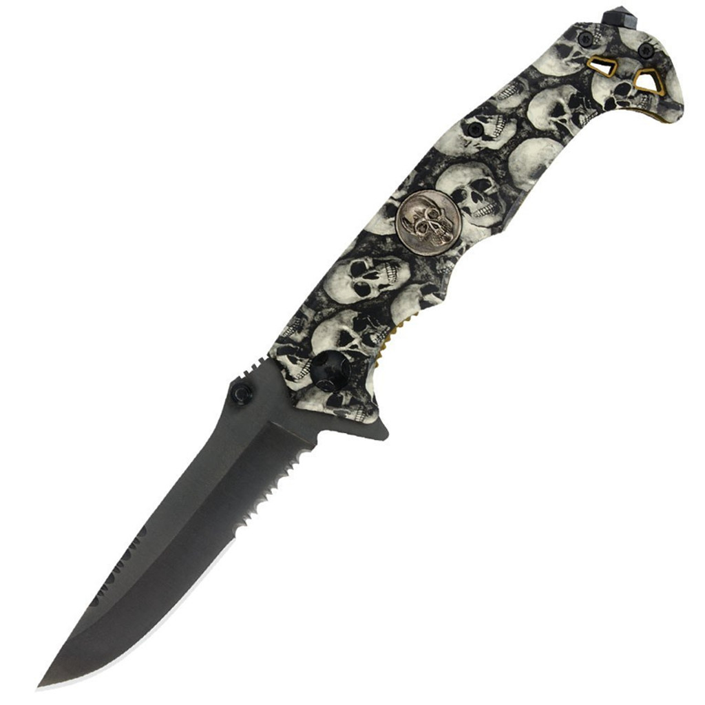 Black Legion Assisted Open Skull Camo Folding Pocket Knife