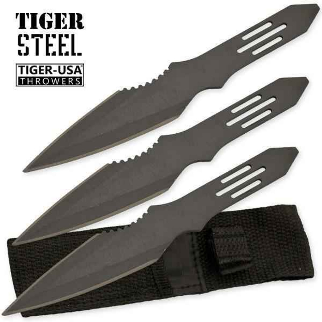 Knockout Knucks 3 PC Black Throwing Knife with Protective Case