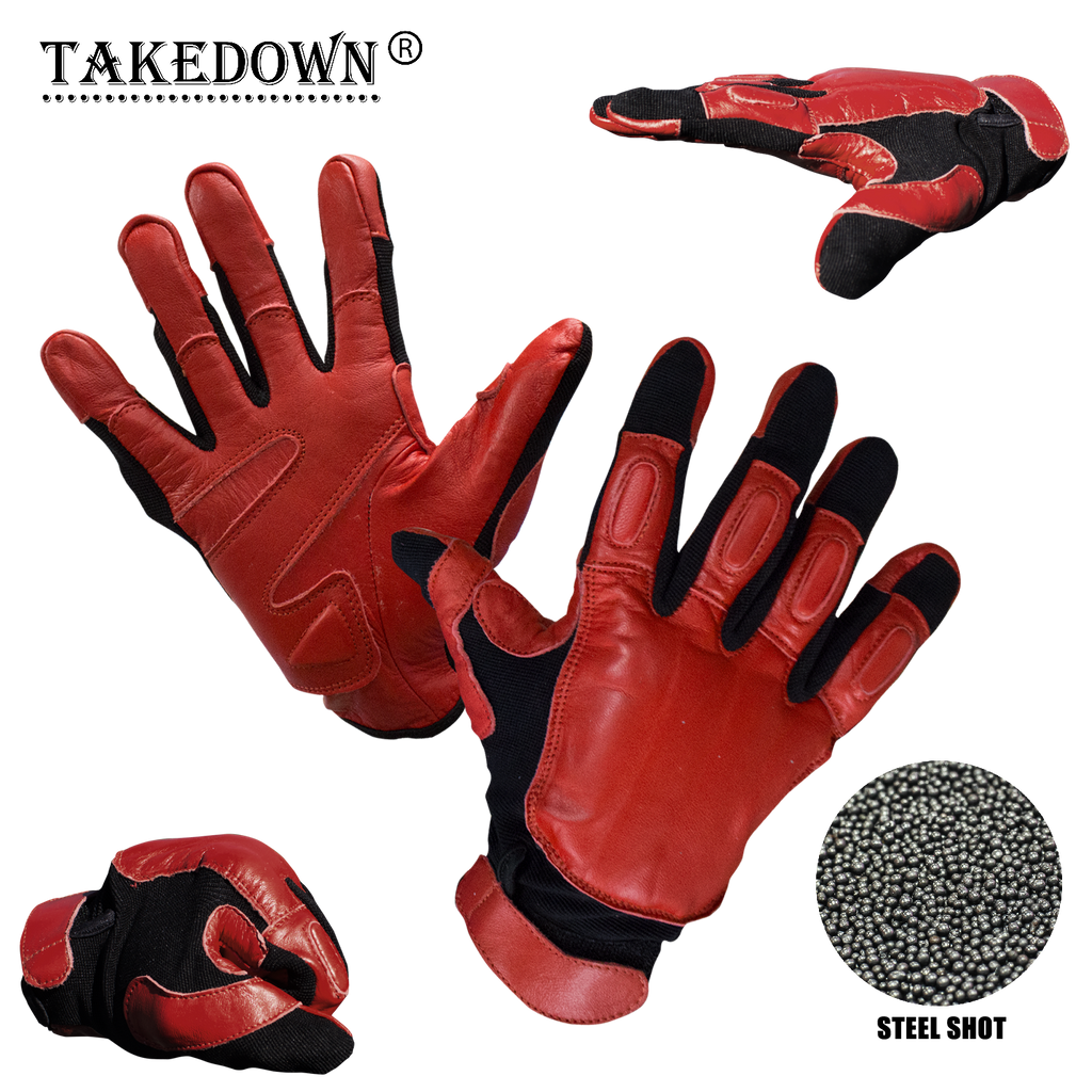 Law Enforcement Red & Black Real Leather Sap Gloves - XL