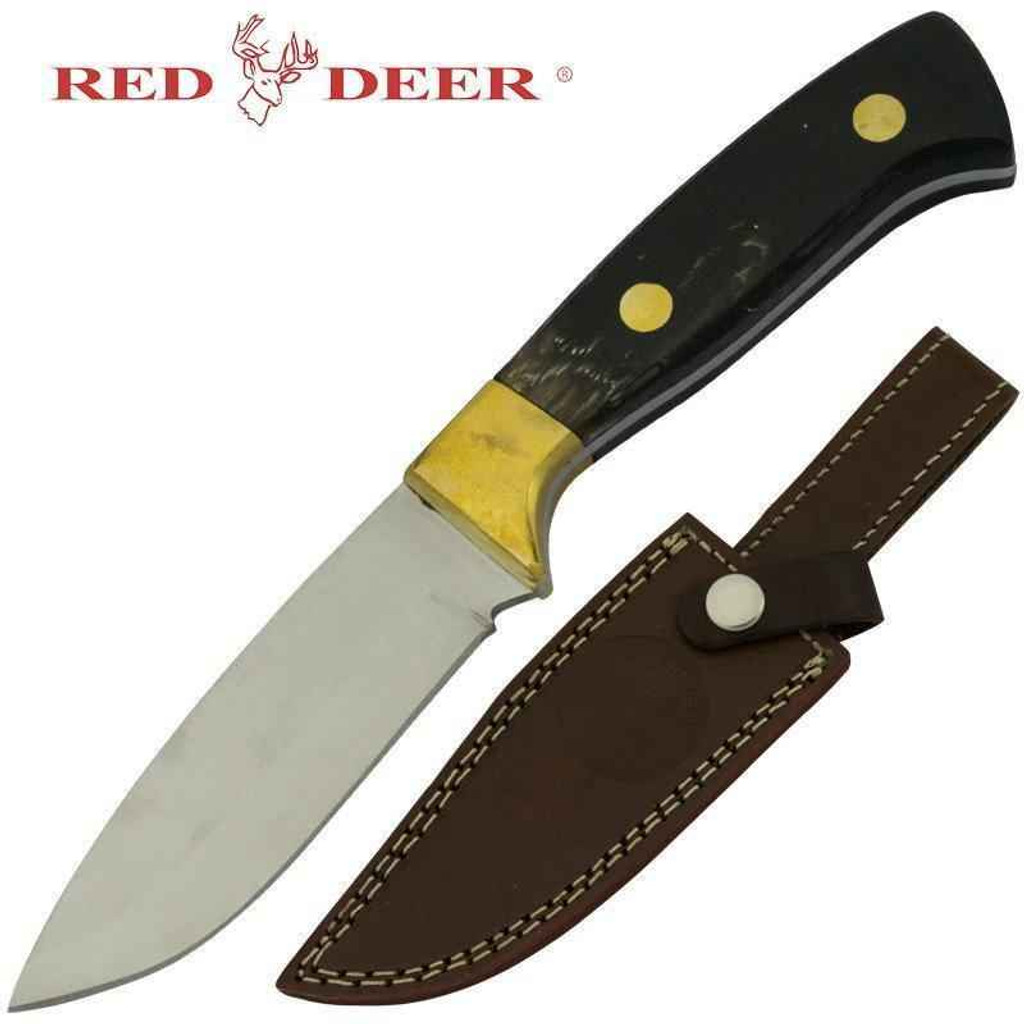 Knockout Knucks Red Deer Hunting Knife Buffalo Horn Handle