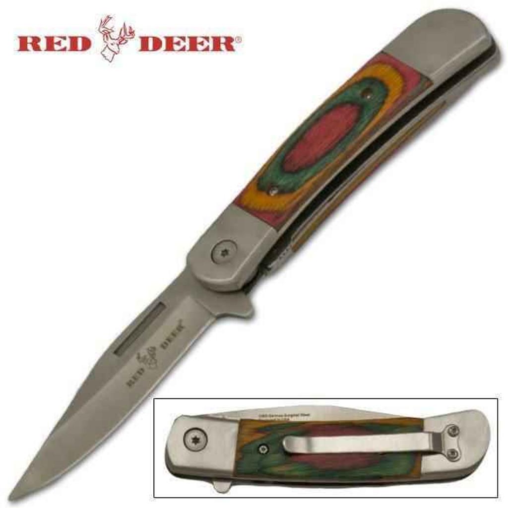 Knockout Knucks Red Deer Hunting Knife Trigger Action Knife