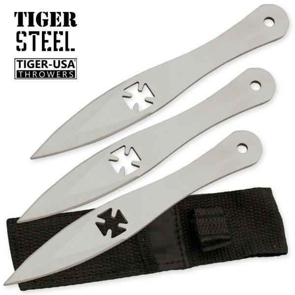 Knockout Knucks 3 PC Tiger Steel Silver Throwing Knife Set 1