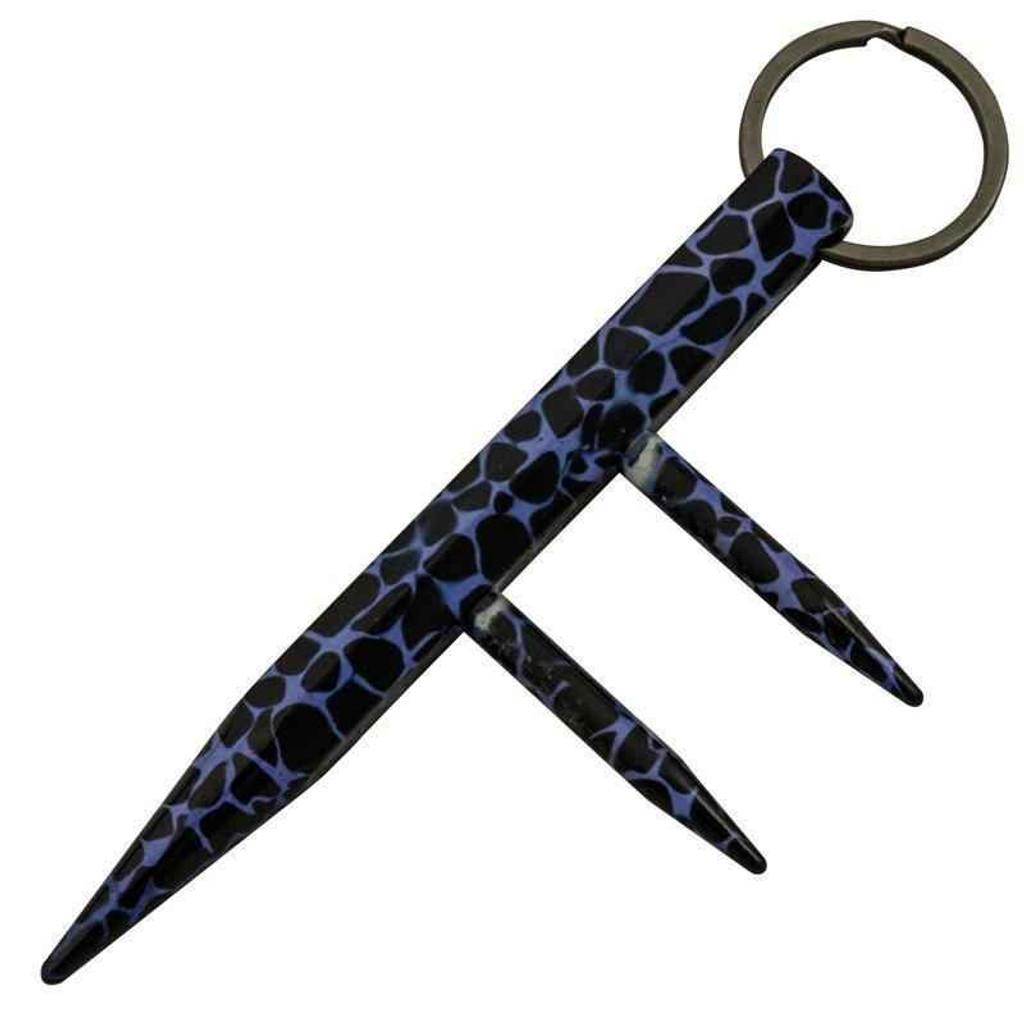 Knockout Knucks Fancy Defense Dealer Two Prong Kubotan - Blue Leopard