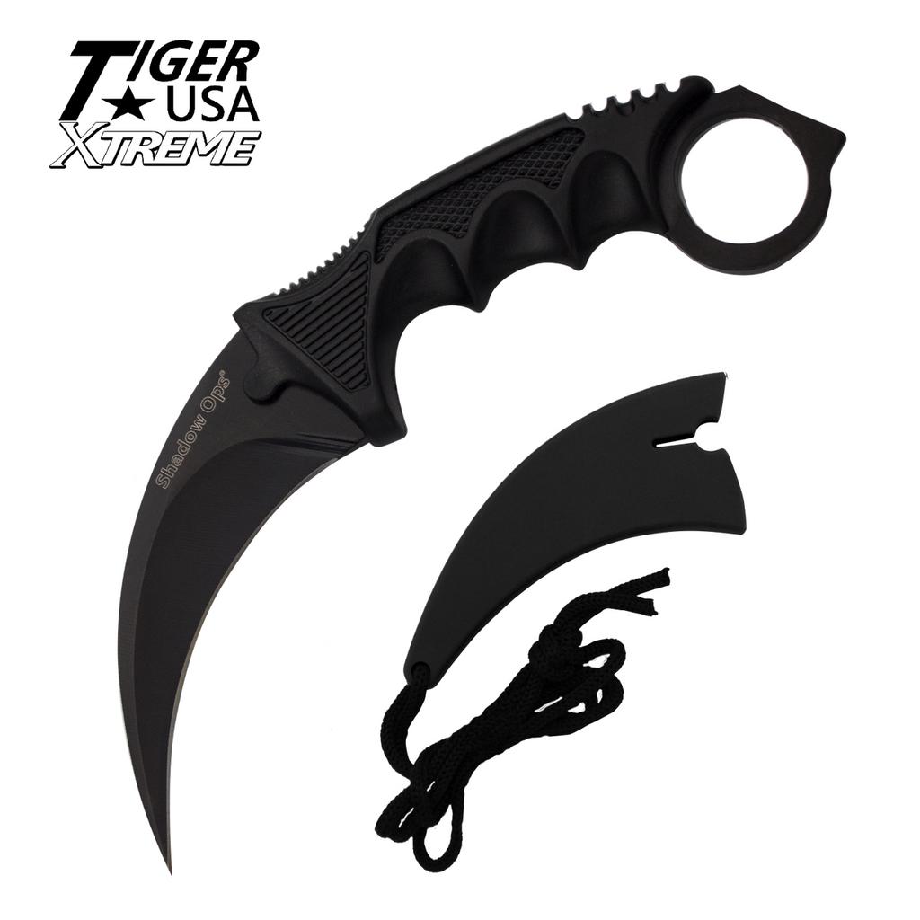 Knockout Knucks Karambit Ranger-Black Fixed Blade Neck Knife with Sheath