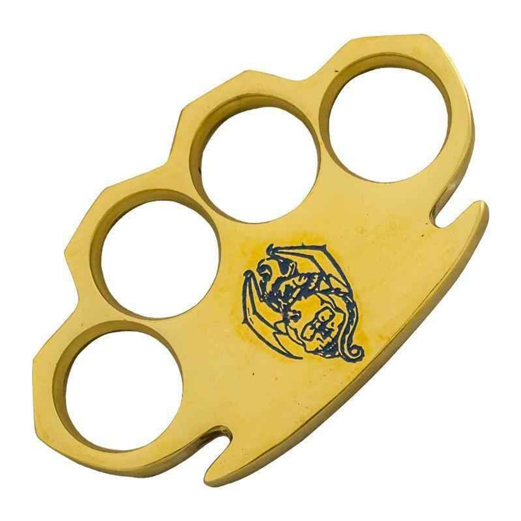 Knockout Knucks Bat Blue Real Brass Knuckles