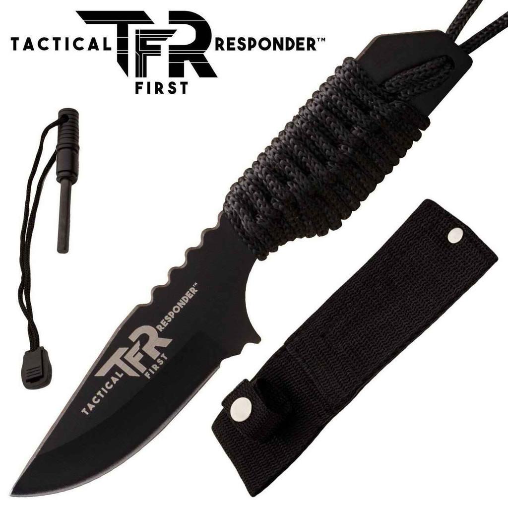 Knockout Knucks Tactical First Respondertm Survival Knife with Firestarter