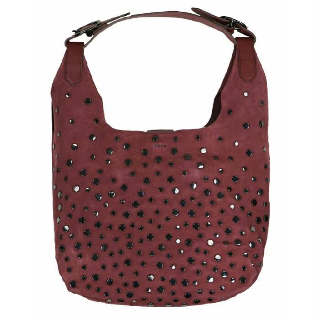 DKNY Wes Studded Purse Genuine Suede Hobo Bag with Dust Bag