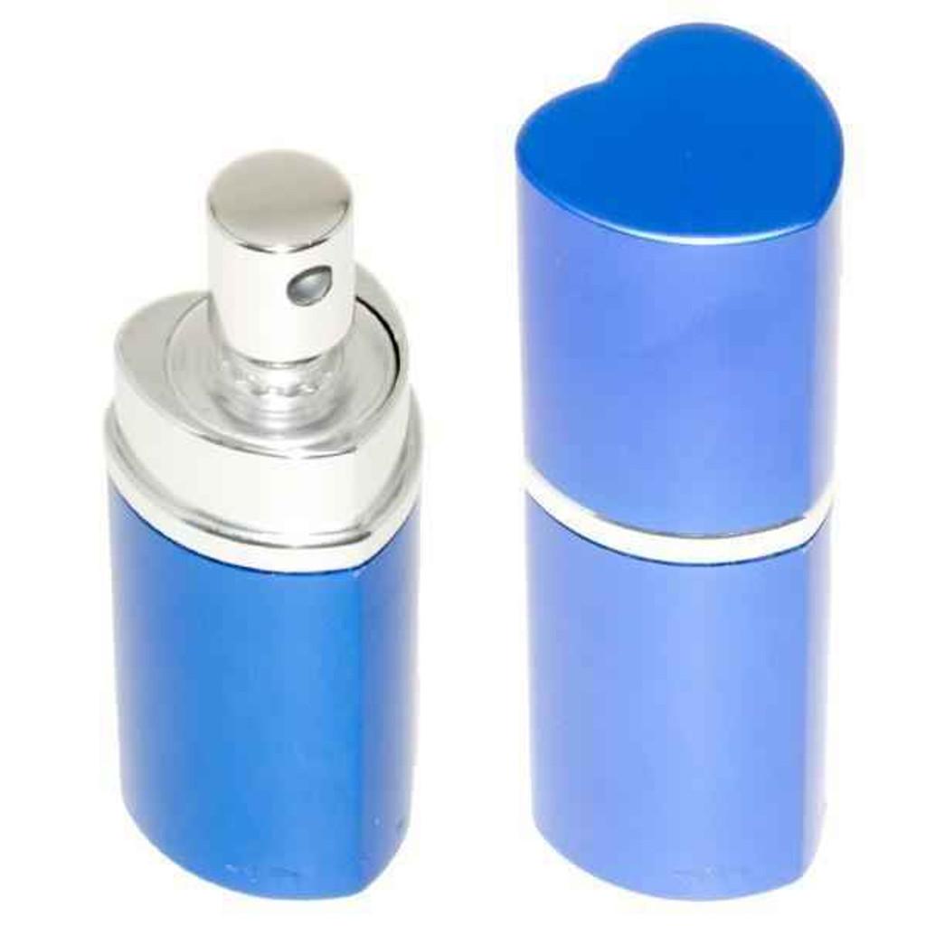 Knockout Knucks Heart Perfume Bottle Pepper Spray - Police Strength - Blue