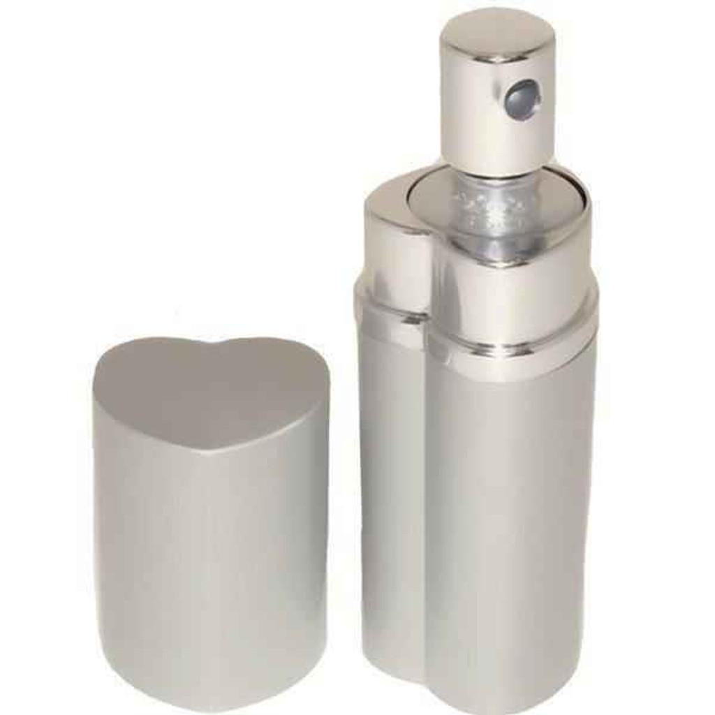 Knockout Knucks Heart Perfume Bottle Pepper Spray - Police Strength - Silver