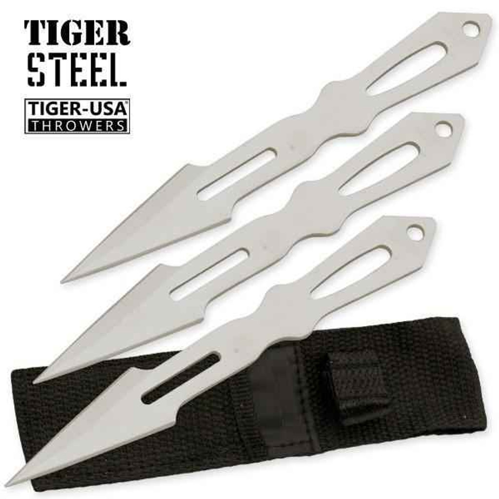 Knockout Knucks 3 PC Tiger Steel Silver Throwing Knife Set