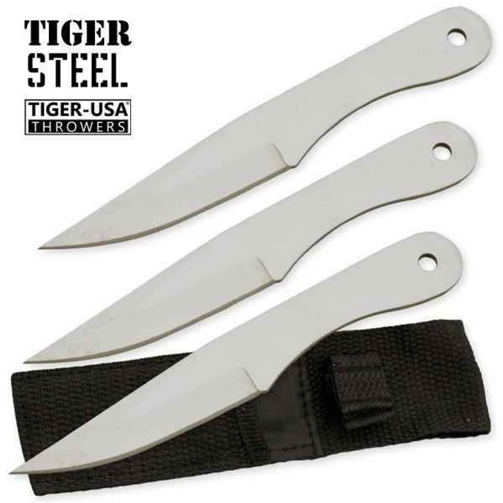 Knockout Knucks 3 PC Silver Throwing Knife Set with Sheath