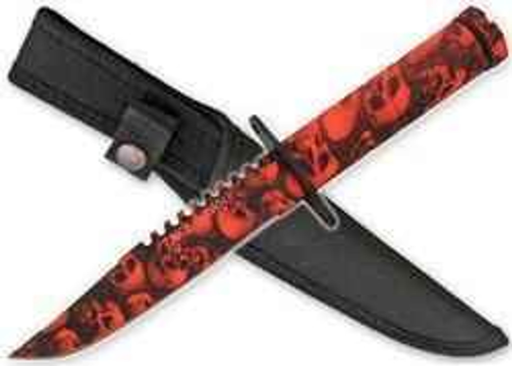vendor-unknown Zombie Survival Knife W/ Skull Heads - Blood Red