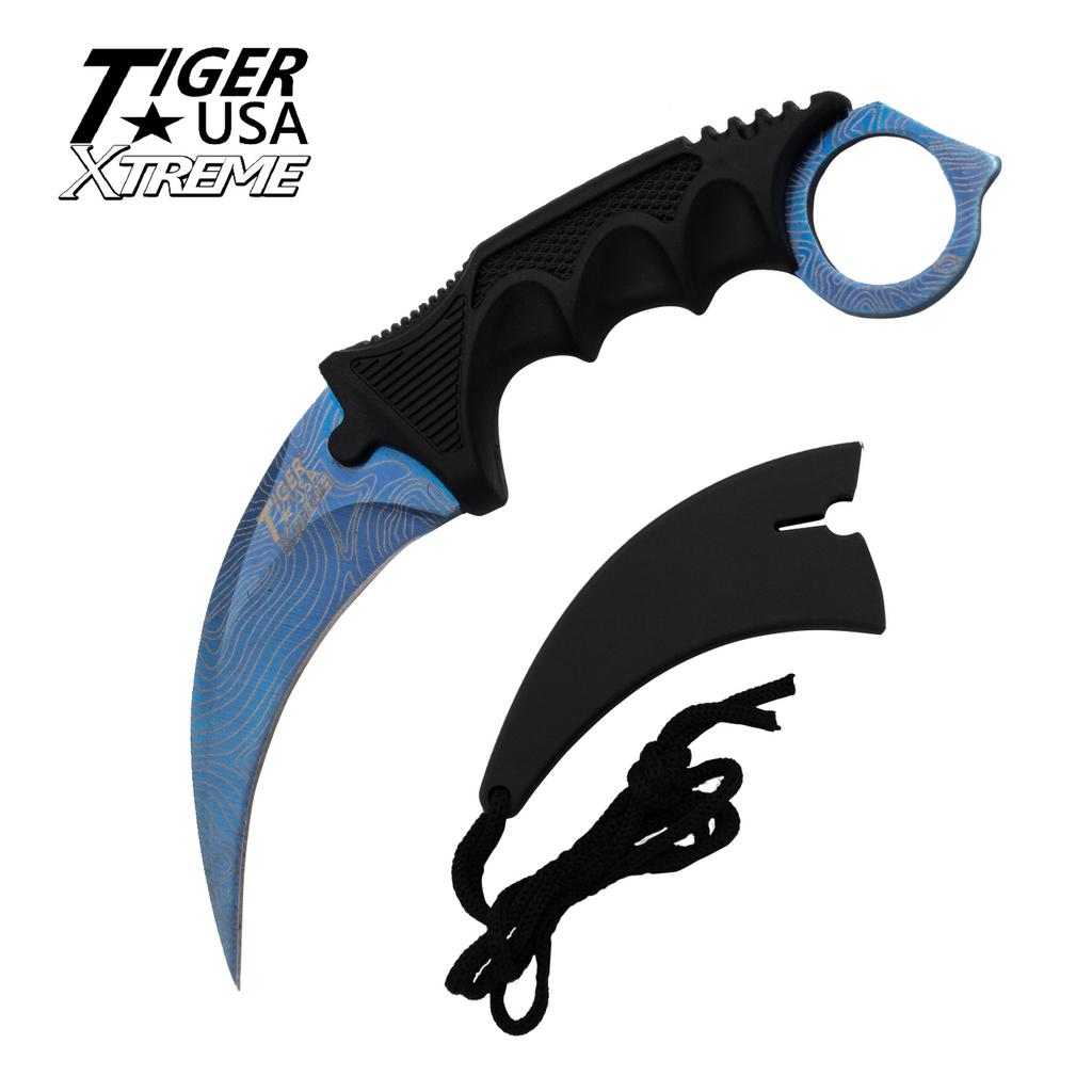 Knockout Knucks Karambit Ranger - Blue Damascus Fixed Blade Karambit Neck Knife with Sheath